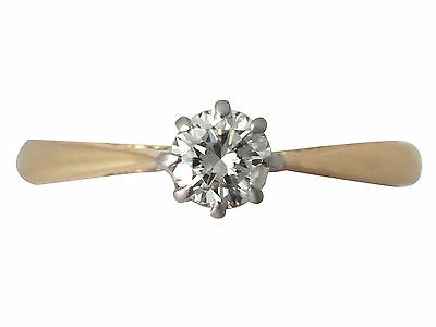 Vintage 0.40ct Diamond & 18k Yellow Gold Solitaire Engagement Ring - 1975