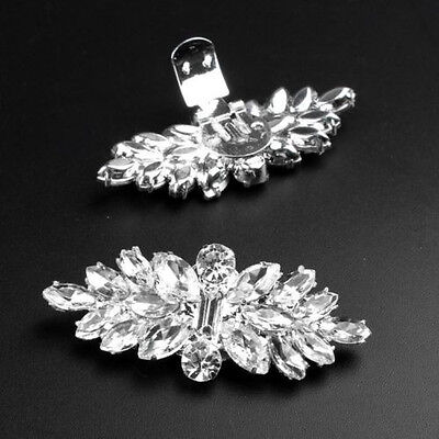 UK 2PCS Rhinestone Crystal Shoe Clips Tone Boots Buckle Decoration Silver Plated