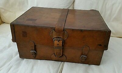 Victorian Hand Stitched Leather Case Fitted Metal Deed Box Clay Gun Cartridges