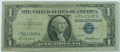 1957 United States Silver Certificate $1 Blue Stamp Star Note