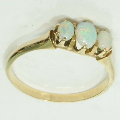 Antique Ladies 14k Gold Oval Claw Set Opal Three Stone Estate Ring
