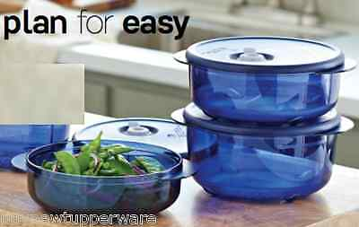 Tupperware Vent N Serve Microwave 3pc Bowls Set Round Navy Blue +Free Peeler New