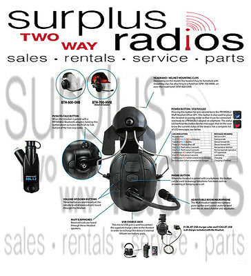 Pryme Bluetooth Construction Hard Hat Headset Motorola XPR7550 XPR6550 XPR6350