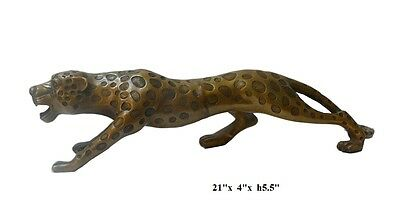 Metal Bronze Jaguar Leopard Animal Figure cs186