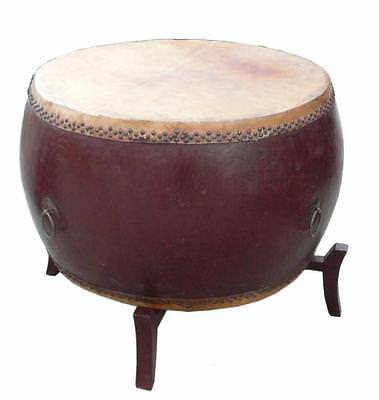 Chinese Brown Lacquer Drum Shape Table s2890
