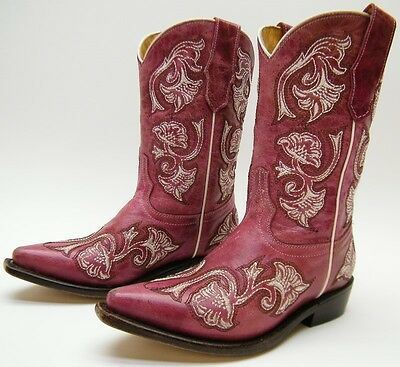 ae3c67b2034 KIDS YOUTH CORRAL G-1093 Plum Pink Embroidered Leather Cowboy Western Boots  11