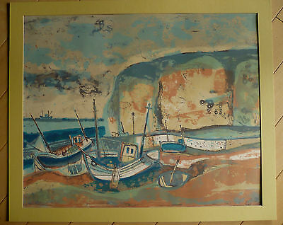 Mystery Modern Print Signed Silkscreen Print French Expressionism Boat Colorful