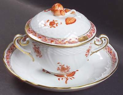 Herend CHINESE BOUQUET RUST (AOG) 1718 Cream Soup Bowl & Saucer With Lid 4096778