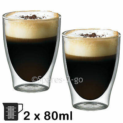 Double Walled Thermal Coffee Glass Shot Tumbler Espresso Cup Glasses 80ml x 2