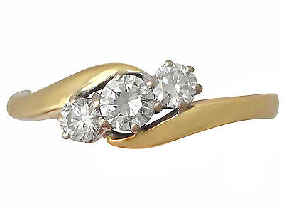 0.46ct Diamond and 18ct Yellow Gold Trilogy Twist Ring - Contemporary 2001