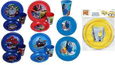 Childrens Plate Bowl & Tumbler Cup Mug Kids Dinner Lunch Or Picnic Meal Sets
