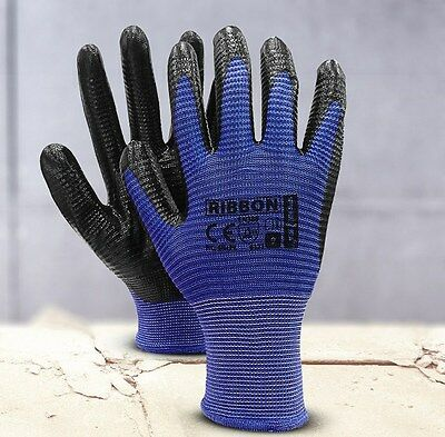 12 Pairs Of New Nitrile Coated Work Gloves Construction Gardardening Size 9