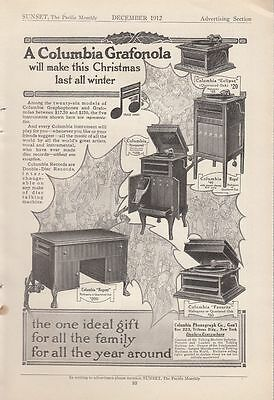 1912 Columbia Phonograph Co New York Ad Grafonola Models Eclipse Regal Nonpareil