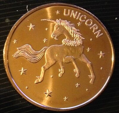 1 Oz Copper Round Unicorn