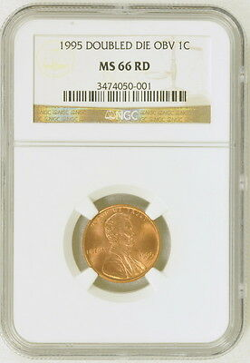 1995 US Mint Doubled Die OBV 1c One Cent Penny NGC Graded MS 66 RD Coin