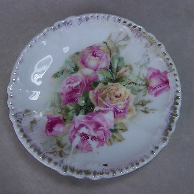 "Antique 3.25"" Royal Bavarian PMB Germany Butter Pat Roses Embossed Scalloped"