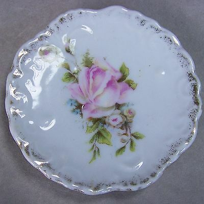 "Antique 2 7/8"" Porcelain Butter Pat Dish Embossed Scalloped Gold Spray Pink Rose"