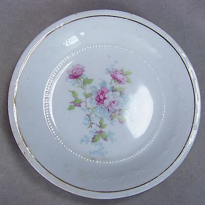 "Antique 3.25"" W H Grindley England Porcelain Pink Roses Embossed Butter Pat Dish"