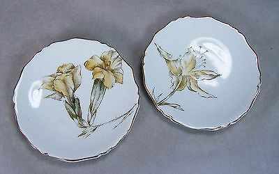 "Antique 3"" Porcelain Butter Pat Lot 2 Yellow Iris Flowers Scalloped Gold Trim"