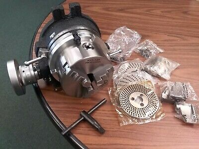 "6"" precision  HORIZONTAL & VERTICAL ROTARY TABLE w 3jaw chuck & index plates-new"