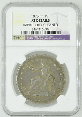 1875 US Carson City Silver Dollar $1 XF Details NGC Certified Coin Currency