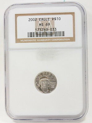 2002 US $10 Ten Dollar Silver Platinum Eagle Graded NGC MS 69 Coin