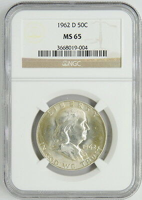 1962 US Mint D Franklin 50 Cent Half Silver Dollar Certified Coin NGC MS65