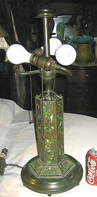 Antique Mission Arts Crafts Riviere Studios Bronze Art Glass Lamp Tiffany Era Ny