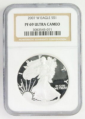2007 W American Silver Eagle $1 PF 69 Ultra Cameo NGC Graded Coin
