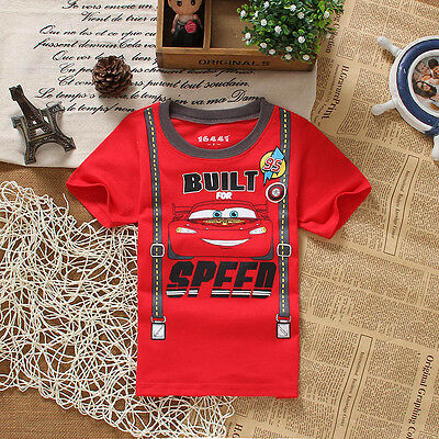Hot Kids Baby Boys Cars Short Sleeve Summer Tops T-shirt Tees Clothes 2-7Y