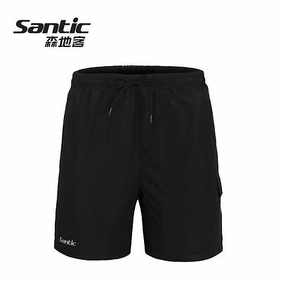 SANTIC Men Padded Baggy Cycling Shorts Casual Bike Bicycle Short Pants Black