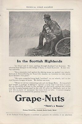 1908 Postum Cereal Co Battle Creek MI Ad: Grape-Nuts Cereal Scottish Highlands