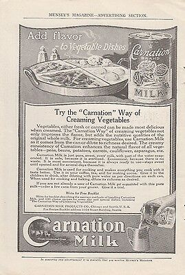 1918 Carnation Milk Products Chicago IL Ad: Way of Creaming Vegetables