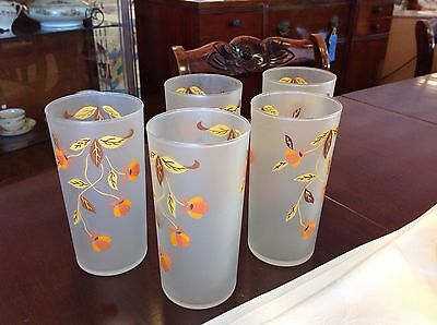 Libbey Frosted Glass Tumblers Set Of 5 Jewel Tea Pattern