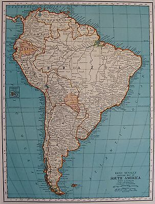 1939 Vintage MAP of SOUTH AMERICA  Beautiful Antique 1930s Map Home Decor #2889