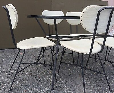 Vintage Salterini Era Wrought Iron Dining Set Glass Patio Mid Century Modern