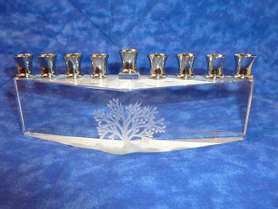 Beveled Etched Clear Glass 9 Small Candle Holder Frosted Tree of Life Menorah