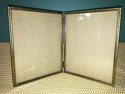 BI-FOLD VINTAGE EMBOSSED gold metal double hinged 8x10 frame picture ...