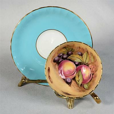 Signed Aynsley Teacup & Saucer - Set #2 Blue/fruit Interior Trimmed With Gold