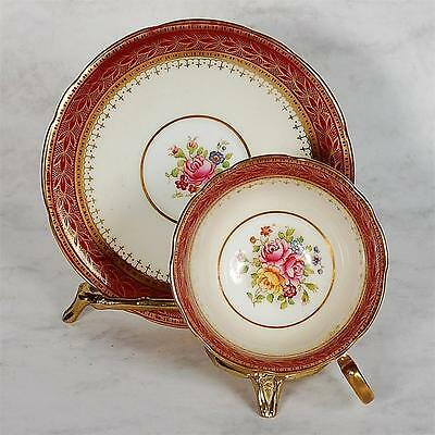 Aynsley Teacup And Saucer - Maroon & White With Floral Centre