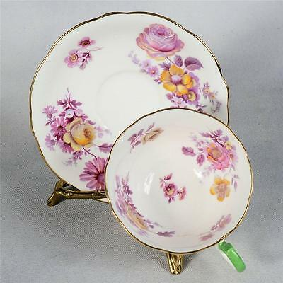 Vintage Aynsley Teacup & Saucer -White Decorated With Colourful Mixed Flowers