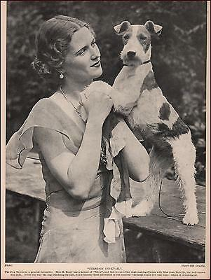 WIRE FOX TERRIER DOG with Movie Star Jean Melville, vintage print 1935