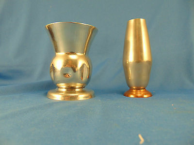 Pewter bud vases 2 hand crafted with copper part of the estate of C. Reyner art