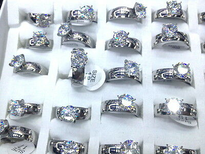 wholesale Lots 36pcs Real CZ vogue lady's 2.0 stainless steel solitaire rings