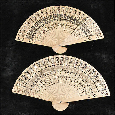 New Vintage Folding Bamboo Original Wooden Carved Hand Fan Wedding Bridal Party