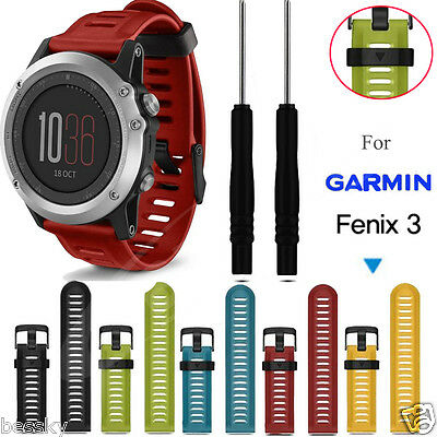 [For Garmin Fenix 3] Soft Silicone Strap Replacement Watch Strap Band+Tools Kits