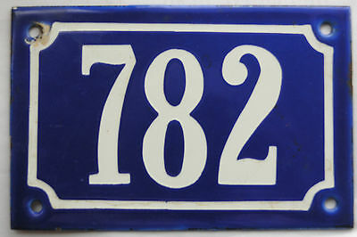 Old blue French house number 782 door gate plate plaque enamel steel metal sign