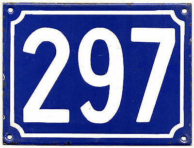 Large old blue French house number 297 door gate plate plaque enamel metal sign