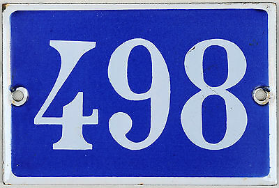 Old French house number 498 door gate plate plaque enamel steel metal sign