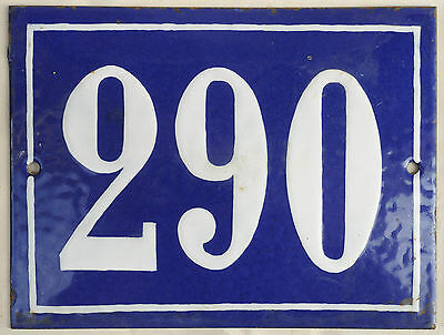 Big blue French house number 290 door gate plate plaque enamel steel metal sign